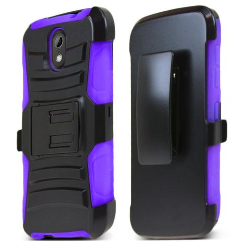 HTC Desire 526 Holster Case, [Purple] Supreme Protection Plastic on Silicone Dual Layer Hybrid Case