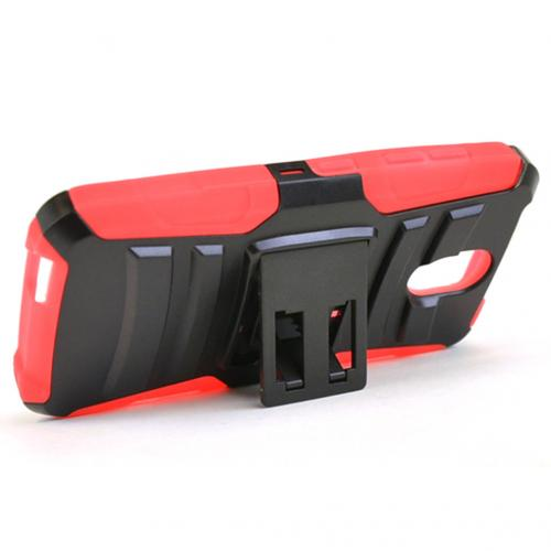 HTC Desire 526 Holster Case, [Red] Supreme Protection Plastic on Silicone Dual Layer Hybrid Case