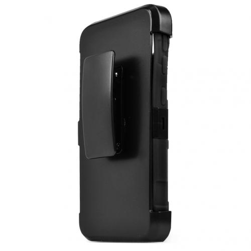 HTC Desire 626/ 626S Holster Case, [Black] Supreme Protection Plastic on Silicone Dual Layer Hybrid Case