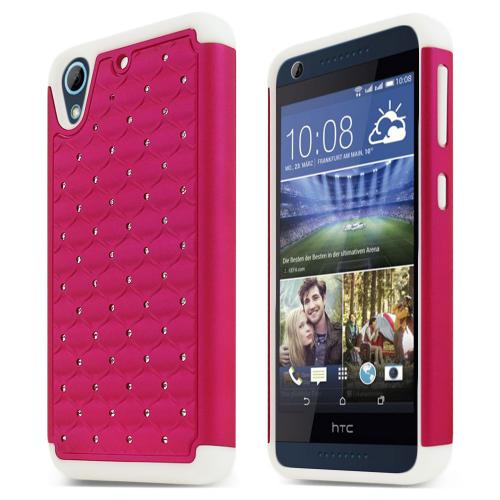 HTC Desire 626/ 626S Bling Case, [Hot Pink/ White] Supreme Protection Plastic on Silicone Dual Layer Hybrid Case