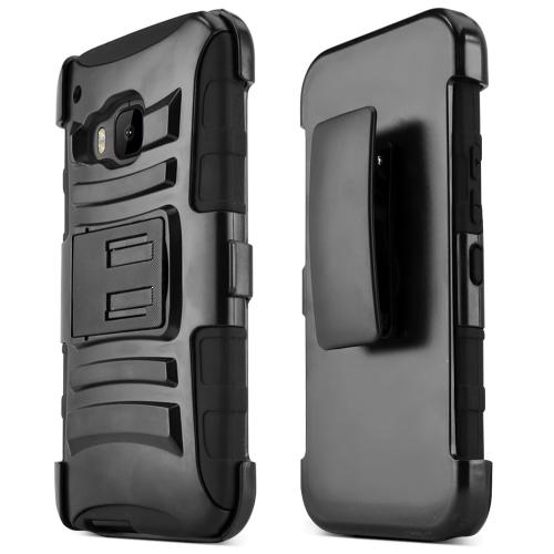 HTC One M9 Case, [Black]  Heavy Duty Dual Layer Hybrid Holster Case with Kickstand and Locking Belt Swivel Clip