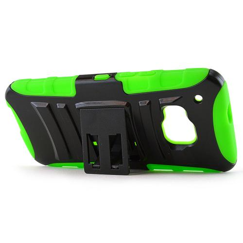 HTC One M9 Case, [Neon Green / Black]  Heavy Duty Dual Layer Hybrid Holster Case with Kickstand and Locking Belt Swivel Clip