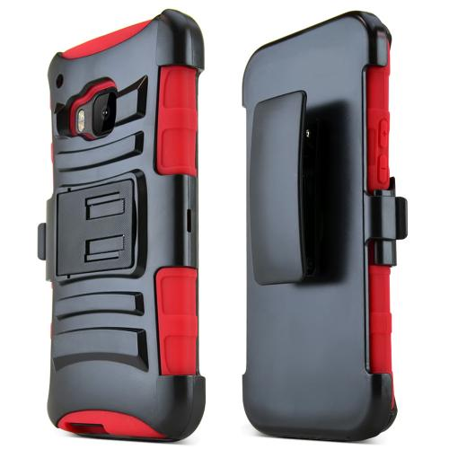 HTC One M9 Case, [Red / Black]  Heavy Duty Dual Layer Hybrid Holster Case with Kickstand and Locking Belt Swivel Clip