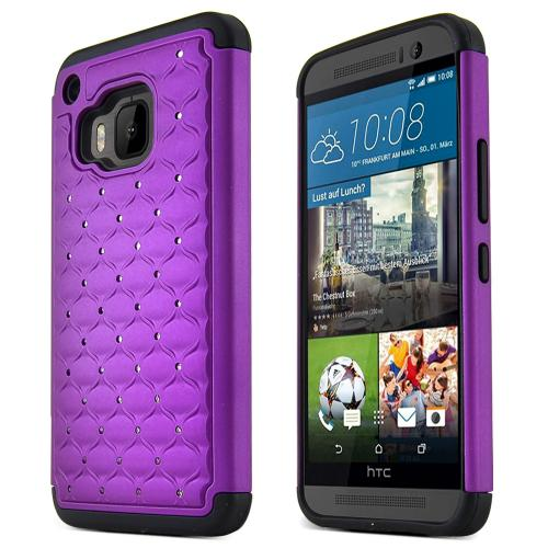 HTC One M9 Case, [Purple / Black]  Supreme Protection Plastic on Silicone Dual Layer Hybrid Case