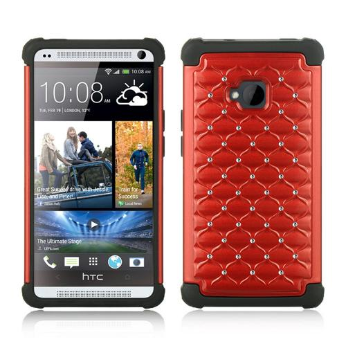 Red Hard Cover w/ Bling Over Black Silicone for HTC One