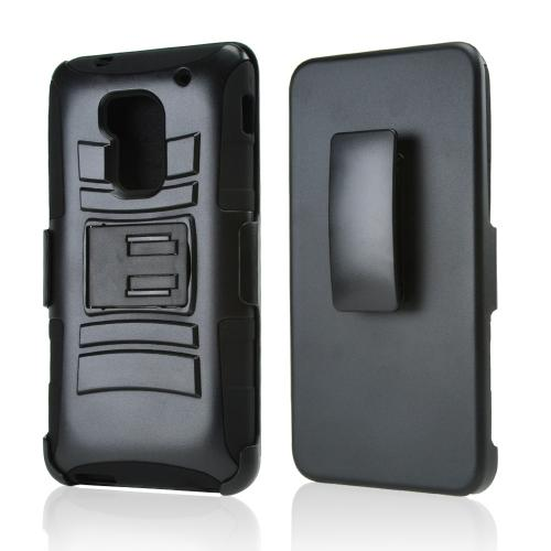 Black Hard Case w/ Kickstand on Black Silicone Skin Case w/ Holster for HTC One Max