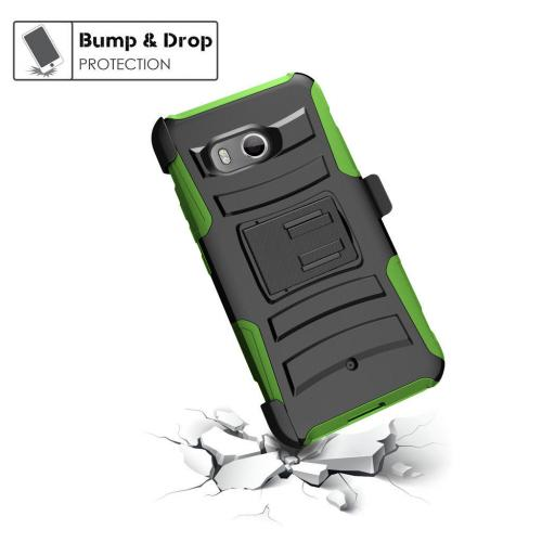 HTC U11 Holster Case, Dual Layer [Black] Hard Case w/ Kickstand on [Neon Green] Silicone Skin Case w/ Holster with Travel Wallet Phone Stand