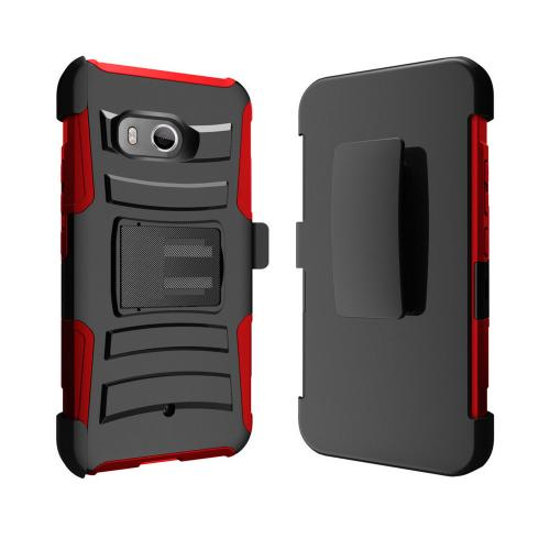 HTC U11 Holster Case, Dual Layer [Black] Hard Case w/ Kickstand on [Red] Silicone Skin Case w/ Holster with Travel Wallet Phone Stand