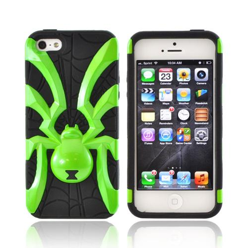 Made for Apple iPhone SE / 5 / 5S  Case,  [Lime Green Spider on Black]  Heavy Duty Hard Case Over Silicone by Redshield