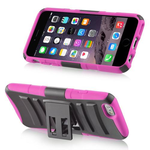 Apple iPhone 6/ 6S Case,  [Black/ Hot Pink]  Heavy Duty Dual Layer Hybrid Holster Case with Kickstand and Locking Belt Swivel Clip
