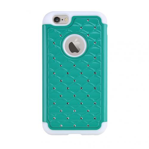 Apple iPhone 6/ 6S Case,  [Dark Mint/ White] Dual Layer Bling Over Slim & Flexible Anti-shock Crystal Silicone Protective TPU Gel Skin Case Cover