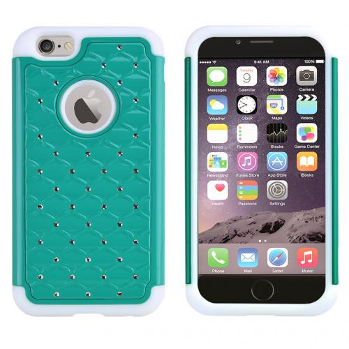 Made for Apple iPhone 6/ 6S Case,  [Dark Mint/ White] Dual Layer Bling Over Slim Flexible Anti-shock Crystal Silicone Protective TPU Gel Skin Case Cover by Redshield