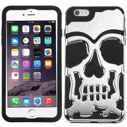 Apple iPhone 6S/6 Plus (5.5 inch) Case, Skull Hybrid Dual Layer Hard Case on Silicone Skin [Silver]