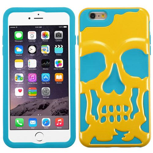 Made for Apple iPhone 6S/6 Plus (5.5 inch) Case, Skull Hybrid Dual Layer Hard Case on Silicone Skin [Yellow on Teal] by Redshield