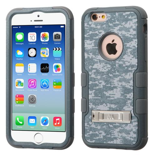 Apple iPhone 6/6S (4.7 inch) Case, TUFF Hybrid Dual Layer Hard Case on Silicone Skin w/ Kickstand [Iron Gray Universal Camouflage]