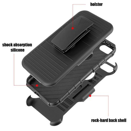 Apple iPhone 8/7/6S/6 Holster Case, REDshield [Black] Supreme Protection Hard Plastic on Silicone Skin Dual Layer Hybrid Case with Travel Wallet Phone Stand