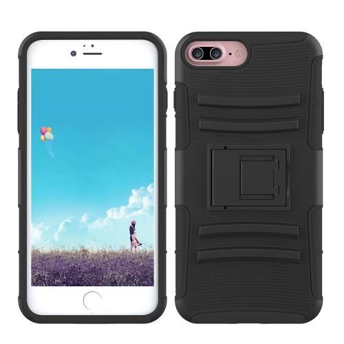 Made for Apple iPhone 8/7/6S/6 Plus Holster Case, [Black] Supreme Protection Hard Plastic on Silicone Skin Dual Layer Hybrid Case with Travel Wallet Phone Stand by Redshield