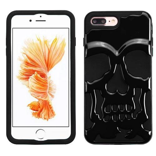 Made for Apple iPhone 8/7/6S/6 Plus Case, Skull Hybrid Dual Layer Hard Case on Silicone Skin [Black] with Travel Wallet Phone Stand by Redshield