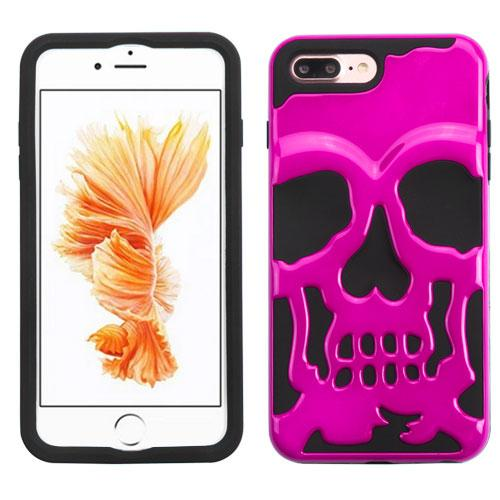 Made for Apple iPhone 8/7/6S/6 Plus Case, Skull Hybrid Dual Layer Hard Case on Silicone Skin [Hot Pink] with Travel Wallet Phone Stand by Redshield