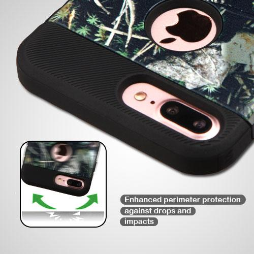 Apple iPhone 8/7/6S/6 Plus Case, TUFF Hybrid Dual Layer Hard Case on TPU Skin [Cedar Tree - Hunting Camouflage] with Travel Wallet Phone Stand