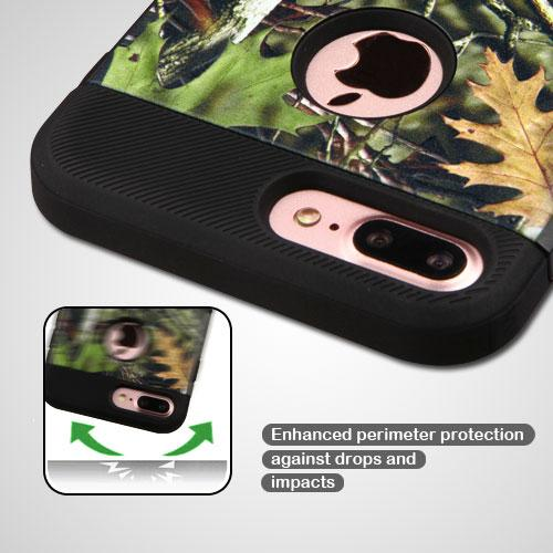 Apple iPhone 8/7/6S/6 Plus Case, TUFF Hybrid Dual Layer Hard Case on TPU Skin [Oak Leaves - Hunting Camouflage] with Travel Wallet Phone Stand