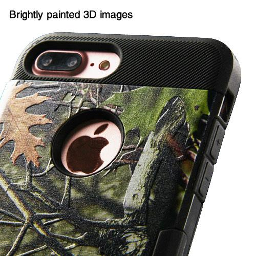Made for Apple iPhone 8/7/6S/6 Plus Case, TUFF Hybrid Dual Layer Hard Case on TPU Skin [Oak Leaves - Hunting Camouflage] with Travel Wallet Phone Stand by Redshield