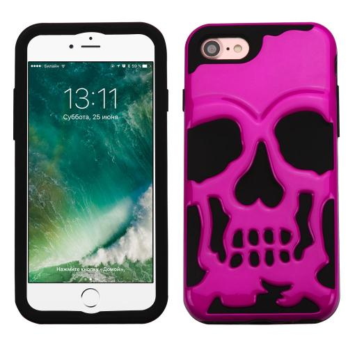 Apple iPhone 8/7/6S/6 Case, Skull Hybrid Dual Layer Hard Case on Silicone Skin [Hot Pink] with Travel Wallet Phone Stand