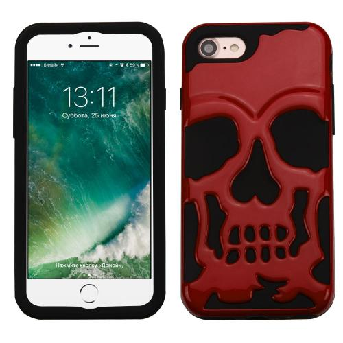 Made for Apple iPhone 8/7/6S/6 Case, Skull Hybrid Dual Layer Hard Case on Silicone Skin [Red] with Travel Wallet Phone Stand