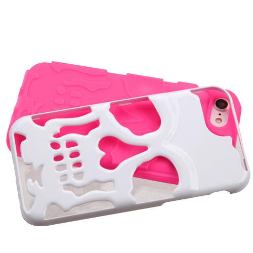 Made for Apple iPhone 8/7/6S/6 Case, Skull Hybrid Dual Layer Hard Case on Silicone Skin [White on Hot Pink] with Travel Wallet Phone Stand by Redshield
