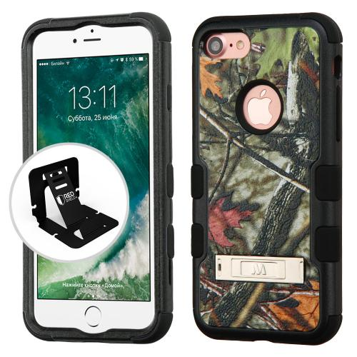 Made for Apple iPhone 8/7/6S/6 Case, TUFF Hybrid Dual Layer Hard Case on Silicone Skin w/ Kickstand [Oak Leaves-Hunting Camouflage] with Travel Wallet Phone Stand by Redshield