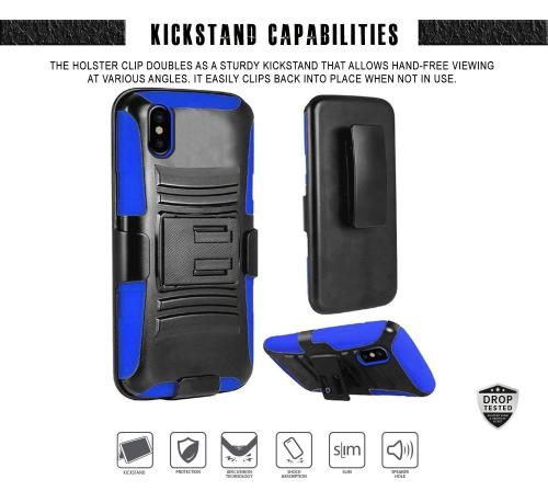 Apple iPhone X Holster Case, [REDshield] Dual Layer [Black] Hard Case w/ Kickstand on [Blue] Silicone Skin Case w/ Holster