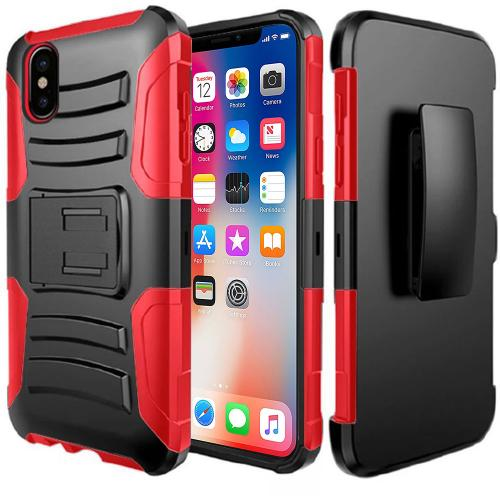 Apple iPhone X Holster Case, [REDshield] Dual Layer [Black] Hard Case w/ Kickstand on [Red] Silicone Skin Case w/ Holster