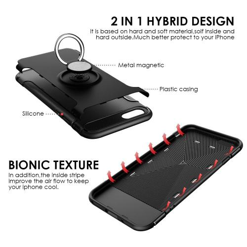 [Apple iPhone 8 Plus/7 Plus/6 Plus] Carbon Edge Sports Hybrid Case with Ring Stand-[BLACK]