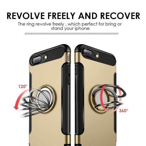 [Apple iPhone 8 Plus/7 Plus/6 Plus] Carbon Edge Sports Hybrid Case with Ring Stand-[GOLD]