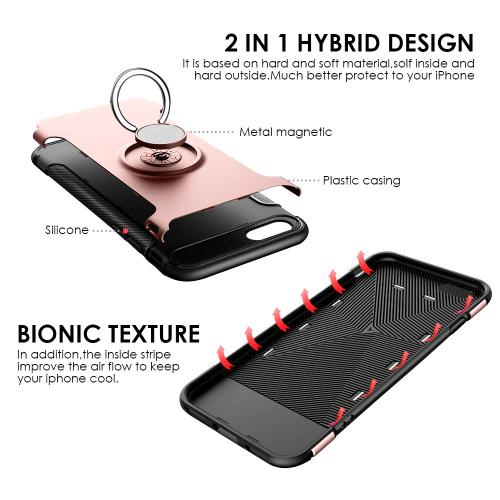 Made for [Apple iPhone 8 Plus/7 Plus/6 Plus] Carbon Edge Sports Hybrid Case with Ring Stand-[ROSE GOLD] by Redshield