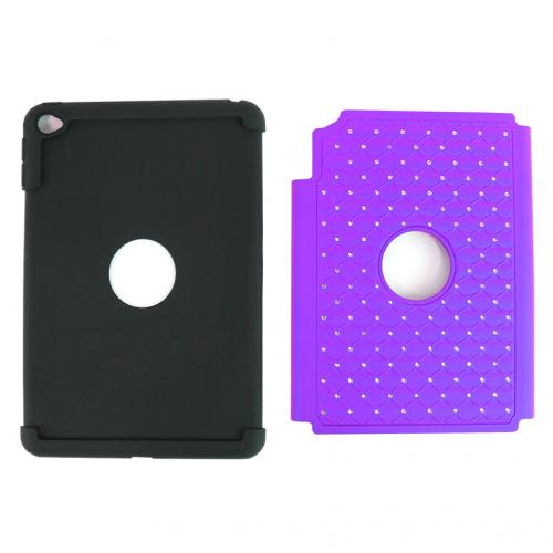 iPad Mini 4 Case, [Purple Bling] Supreme Protection Bling Plastic on Silicone Dual Layer Hybrid Case For Apple iPad Mini 6