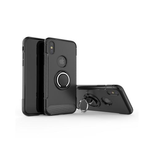 Apple iPhone X Hybrid Case, [Black] Carbon Fiber Design Edge Dual Layer Case w/ Ring Holder Stand & Magnetic Back Plate