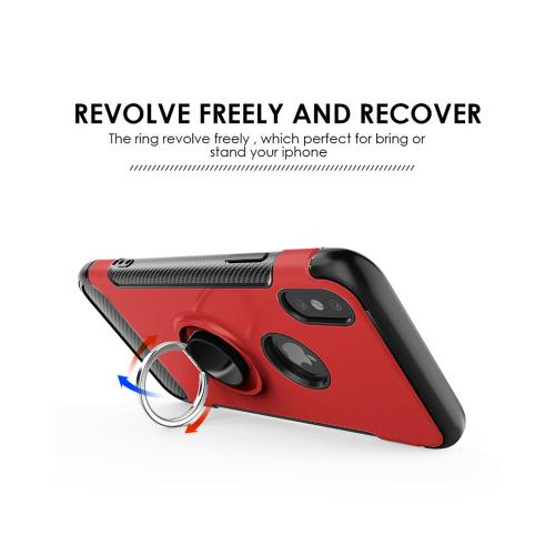 Apple iPhone X Hybrid Case, [Red] Carbon Fiber Design Edge Dual Layer Case w/ Ring Holder Stand & Magnetic Back Plate