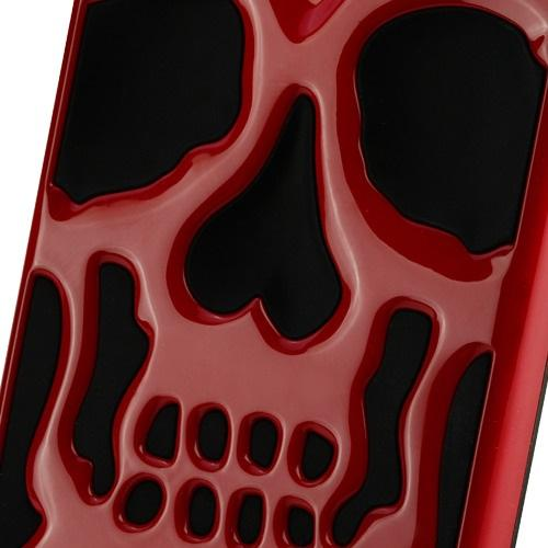 Apple iPhone X Case, [Red] Skull Hybrid Dual Layer Hard Case on Silicone Skin