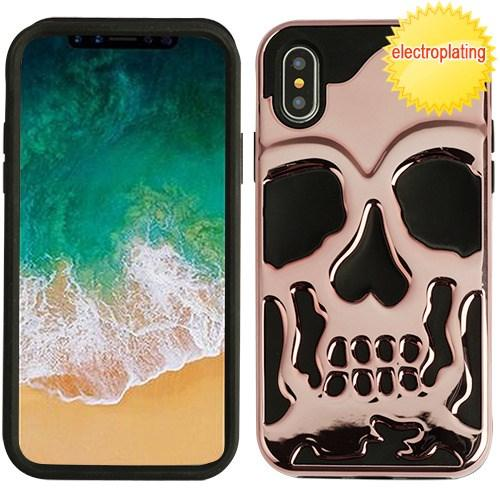 Made for [Apple iPhone X / XS 2018] Case, [Rose Gold] Skull Hybrid Dual Layer Hard Case on Silicone Skin by Redshield