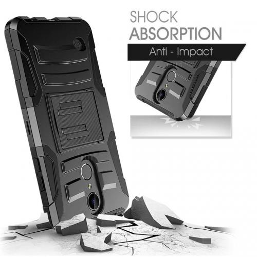 LG Aristo/ Fortune Case, REDshield Supreme Protection Hard Plastic on Silicone Skin Dual Layer Hybrid Case [Black]