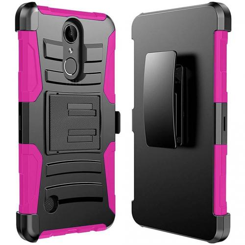 LG Aristo/ Fortune Case, Supreme Protection Hard Plastic on Silicone Skin Dual Layer Hybrid Case [Black/ Hot Pink]