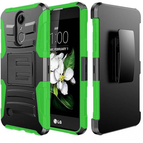 LG Aristo/ Fortune Case, Supreme Protection Hard Plastic on Silicone Skin Dual Layer Hybrid Case [Black/ Neon Green]