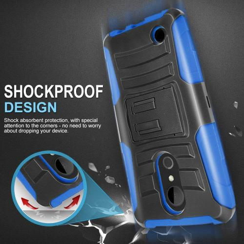 [LG ARISTO 2/X210/LG TRIBUTE DYNASTY] Holster Case, REDshield [BLue/Black] Supreme Protection Hard Plastic on Silicone Skin Dual Layer Hybrid Case