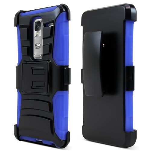LG Class Case, [Blue] Rubberized Plastic on Silicone Dual Layer Hybrid Case