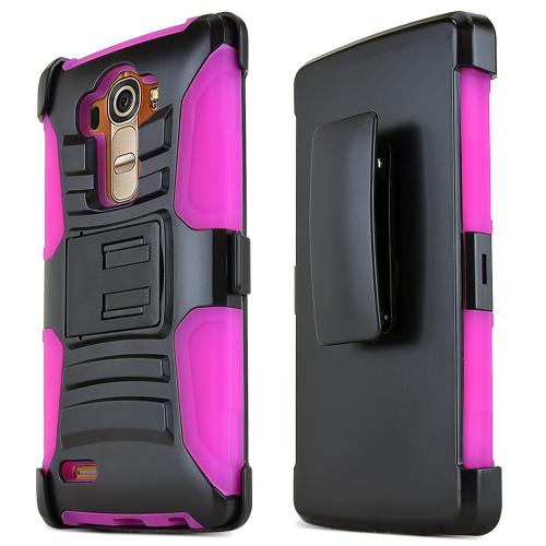 LG G4 Case, REDshield [Pink] Heavy Duty Dual Layer Hybrid Holster Case with Kickstand and Locking Belt Swivel Clip