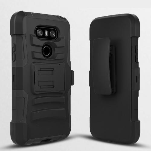 LG G6 Heavy Duty Case, Dual Layer Hard Case w/ Kickstand on Black Silicone Skin Case w/ Holster [Black] with Travel Wallet Phone Stand