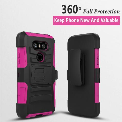 LG G6 Heavy Duty Case, Dual Layer Hard Case w/ Kickstand on [Hot Pink] Silicone Skin Case w/ Holster [Black/ Hot Pink] with Travel Wallet Phone Stand
