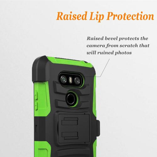 LG G6 Heavy Duty Case, Dual Layer Hard Case w/ Kickstand on [Neon Green] Silicone Skin Case w/ Holster [Black/ Neon Green] with Travel Wallet Phone Stand