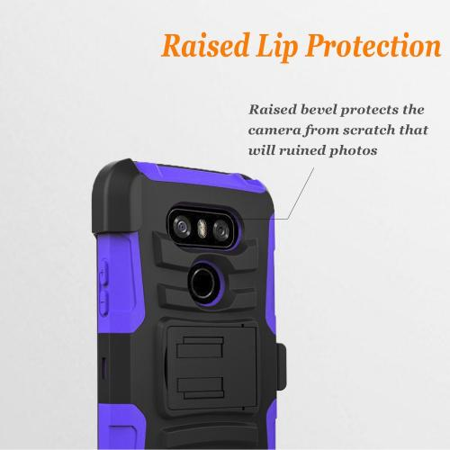 LG G6 Heavy Duty Case, Dual Layer Hard Case w/ Kickstand on [Purple] Silicone Skin Case w/ Holster [Black/ Purple] with Travel Wallet Phone Stand